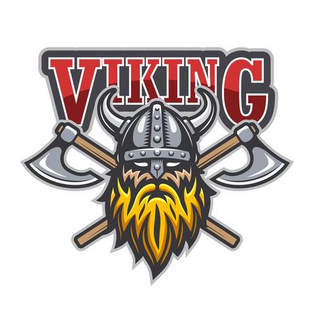 casco rojo: Guerrero Vikingo deporte logotipo. Colores aislados sobre fondo blanco