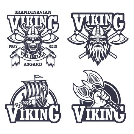 barco caricatura: Conjunto de emblemas vikingo, etiquetas y logos. Estilo monocromo