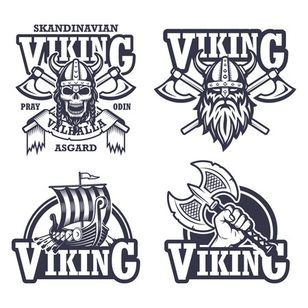 Set of viking emblems, labels and logos. Monochrome style Ilustracja