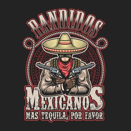 pistolas: Vector illustrtion de plantilla de impresión bandido mexicano. Hombre con armas de fuego en manos de sombrero con el texto.