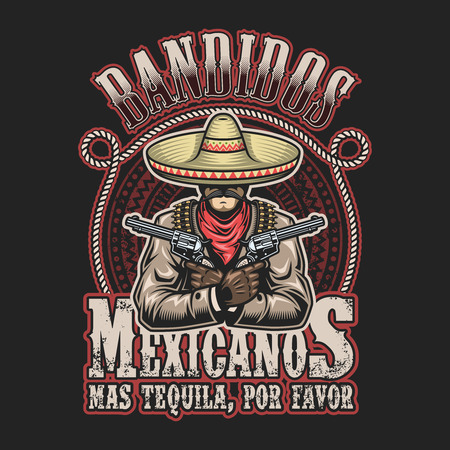 mexico: Vector illustrtion of mexican bandit print template. Man with a guns in hands in sombrero with text.