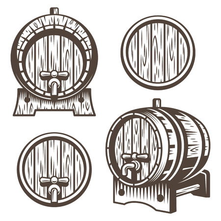 Set of vintage wooden barrels in different foreshortening. Monochrome style. Isolated on white back ground Vectores