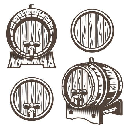 Reeks uitstekende houten vaten in verschillende verkorting. Zwart-wit stijl. Geïsoleerd op witte achtergrond Stock Illustratie