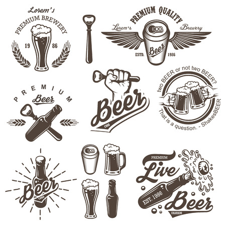 beer can: Set of vintage beer brewery emblems, labels, logos, badges and designed elements. Monochrome style. Isolated on white background