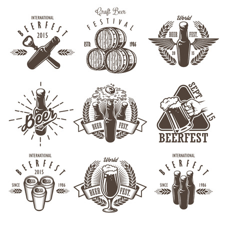 beer can: Set of vintage beer festival emblems, labels, logos, badges and designed elements. Monochrome style. Isolated on white background