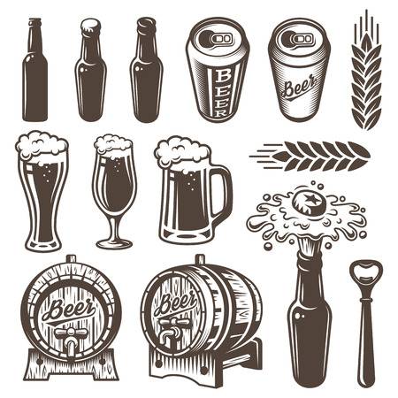 Set of vinyage beer and brewery elements. Monochrome style. Isolated on white background.
