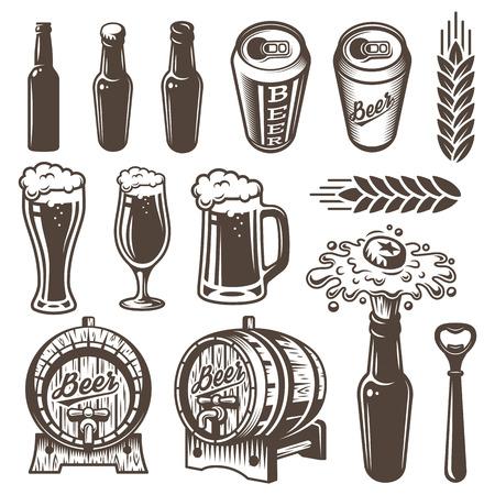 Vinyage ビールおよびビール醸造所の要素のセットです。モノクロ スタイル。白い背景上に分離。