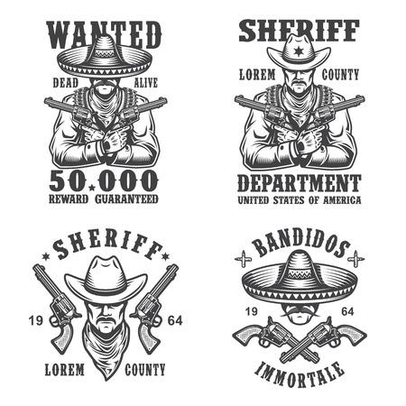 vaquero: Conjunto de sheriff y del bandido emblemas, etiquetas, escudos, logotipos y mascotas. Estilo monocromático.