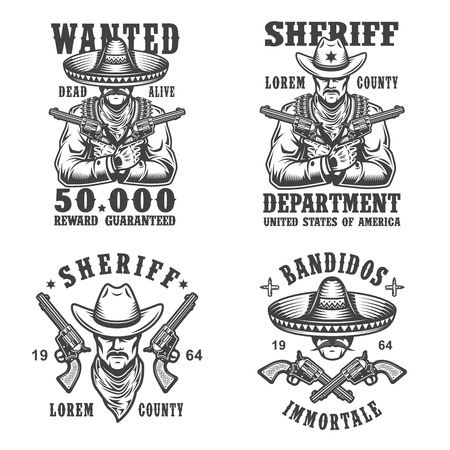 cowboy gun: Set of sheriff and bandit emblems, labels, badges, logos and mascots. Monochrome style.