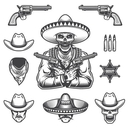 revolver: Set of sheriff and bandit elements and heads. Monochrome style
