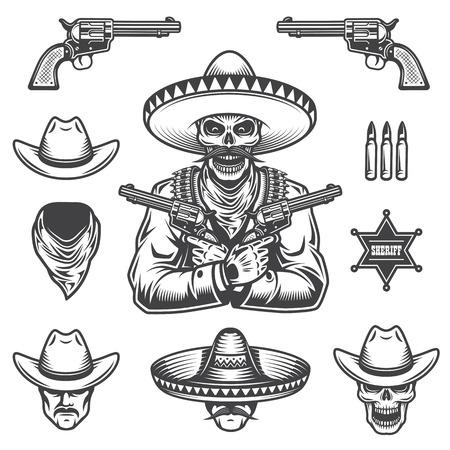 Set van sheriff en bandiet elementen en koppen. Zwart-wit stijl Stock Illustratie