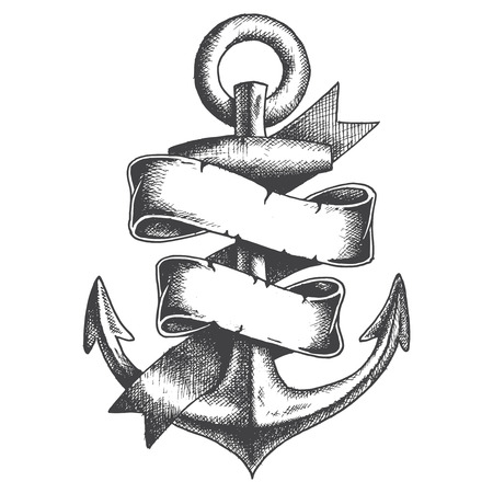 ancre marine: Hand Drawn Anchor avec ruban