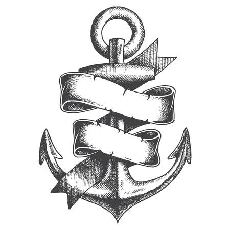 ancre marine: Hand Drawn Anchor avec ruban