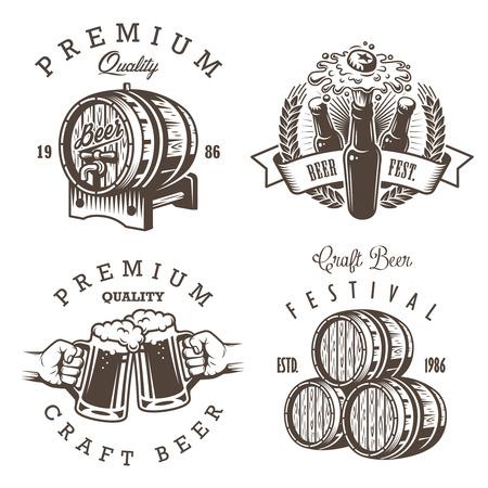 ビンテージのビール醸造所のエンブレム、ラベル、バッジおよび設計要素のセットです。モノクロ スタイル。白い背景に分離