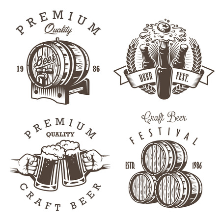 Set of vintage beer brewery emblems, labels, badges and designed elements. Monochrome style. Isolated on white background