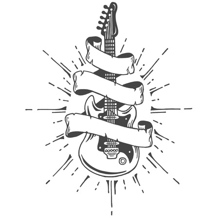 Hand drawn electric guitar with ribbon and text. Heavy metal style. Vetores