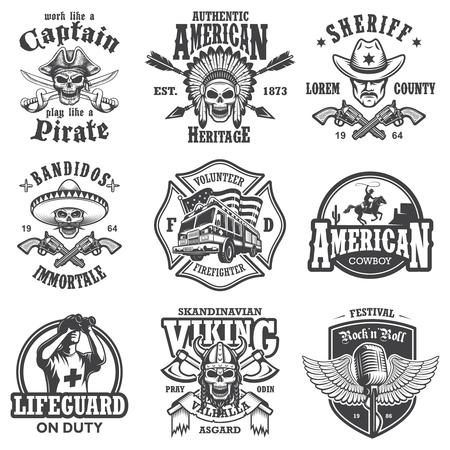 Set of vintage lifestyle emblems, labels, badges Illustration
