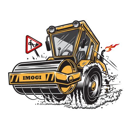Vector illustratie van stoomwals met rook onder de wielen op een witte achtergrond