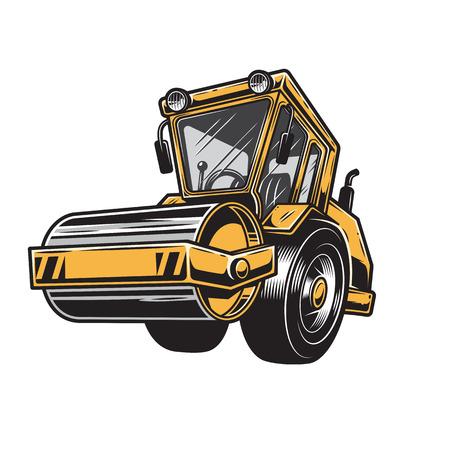 steamroller: Vector illustration of  color steamroller on white background