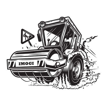 tractor warning sign: Vector illustration of steamroller with smoke under the wheels on white background. Monochrome style