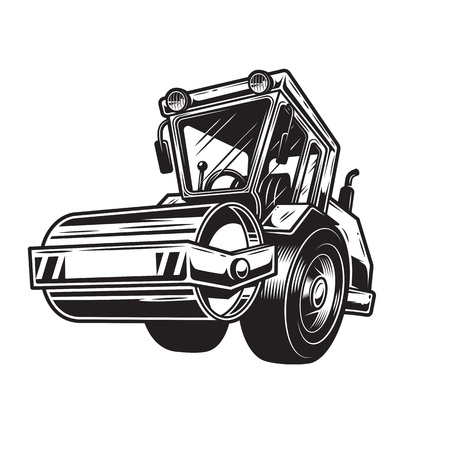 tractor warning sign: Vector illustration of  color steamroller on white background. Monochrome style