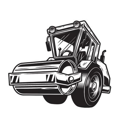 steamroller: Vector illustration of  color steamroller on white background. Monochrome style