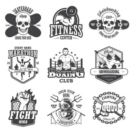 combate: Conjunto de deportes del vintage emblemas, etiquetas, insignias