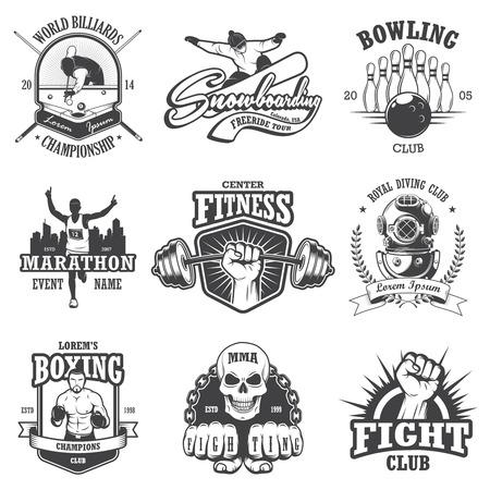 picada: Conjunto de deportes del vintage emblemas, etiquetas, insignias