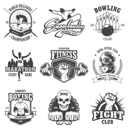 billiard ball: Set of vintage sports emblems, labels, badges