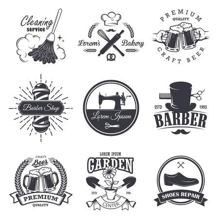 craft materials: set of vintage workshop emblems, labels, badges