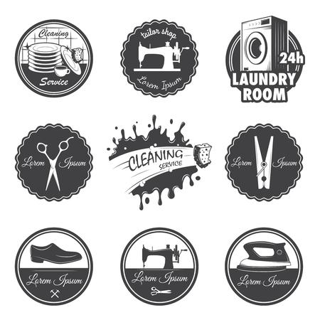maquinas de coser: conjunto de la vendimia emblemas del taller, etiquetas, insignias Vectores