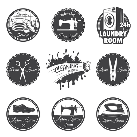 shoe repair: set of vintage workshop emblems, labels, badges