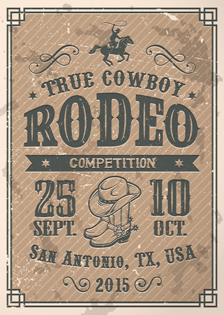 bucking horse: American cowboy rodeo poster with typography and vintage paper texture