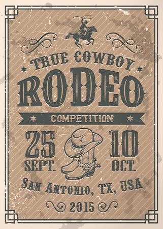 silueta ciclista: Cartel del rodeo vaquero americano con la tipografía y la textura del papel del vintage Vectores