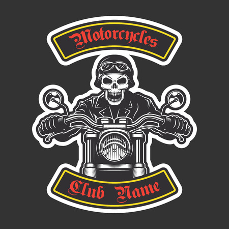 biker: Classic biker embroidery for jacket. Motorcycle theme