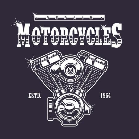 Vintage motorfiets druk. Zwart-wit op een donkere achtergrond Stock Illustratie