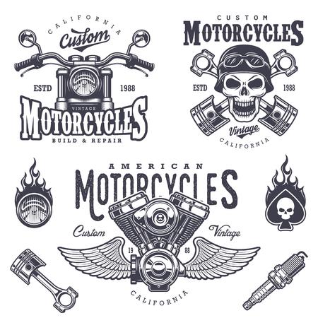 Set of vintage motorcycle emblems, labels, badges, logos and design elements. Monochrome style. Vettoriali