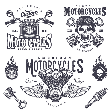 Set of vintage motorcycle emblems, labels, badges, logos and design elements. Monochrome style. Çizim