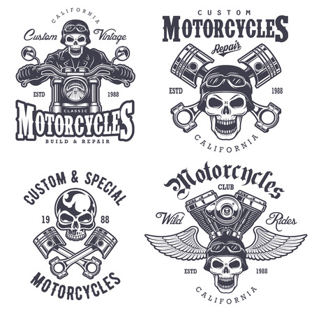 Set of vintage motorcycle emblems, labels, badges, logos and design elements. Monochrome style. Vectores