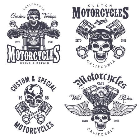 moto: Set of vintage motorcycle emblems, labels, badges, logos and design elements. Monochrome style. Illustration