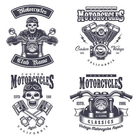 casco de moto: Conjunto de la vendimia emblemas motocicleta, etiquetas, escudos, logotipos y elementos de diseño. Estilo monocromático.