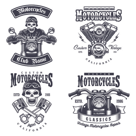 Set of vintage motorcycle emblems, labels, badges, logos and design elements. Monochrome style. Ilustração