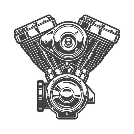 motor race: Illustratie van de motorfiets motor. Zwart-wit stijl