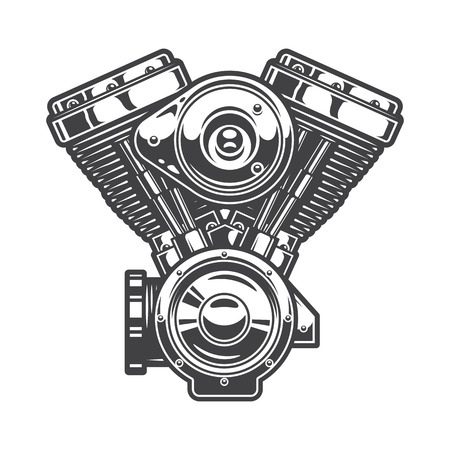 motor: Illustration of motorcycle engine. Monochrome style
