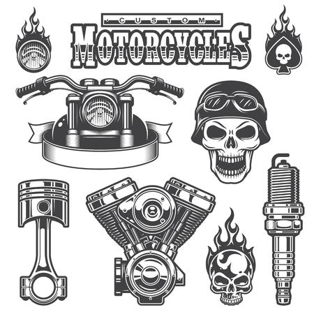 silueta ciclista: Conjunto de elementos de la motocicleta monocromo vintage, aislados en fondo blanco. Vectores