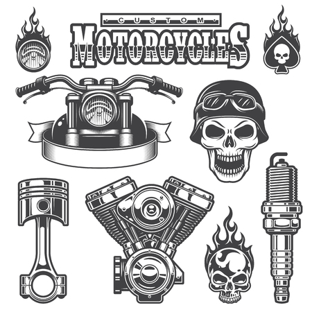 motors: Set of vintage monochrome motorcycle elements, isolated on white background. Illustration