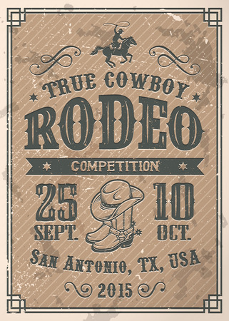 bucking bronco: American cowboy rodeo poster with typography and vintage paper texture