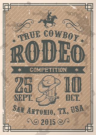 rodeo americano: Cartel del rodeo vaquero americano con la tipograf�a y la textura del papel del vintage Vectores