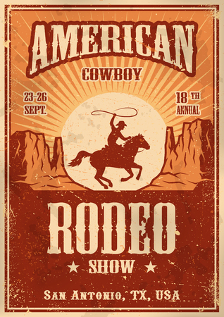 horses in the wild: American cowboy rodeo poster with typography and vintage paper texture