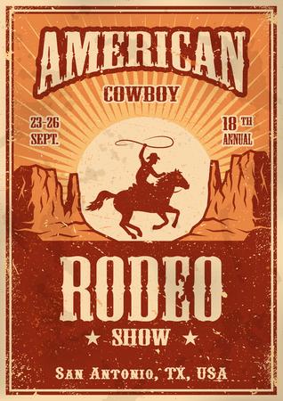 rodeo americano: Cartel del rodeo vaquero americano con la tipografía y la textura del papel del vintage Vectores